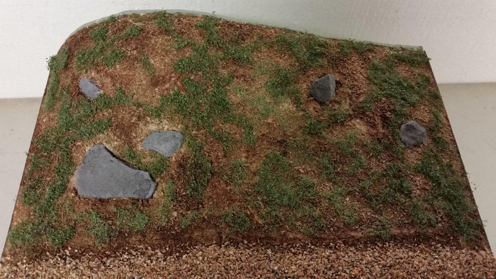 Bitar av lövmatta som växtlighet på modulen